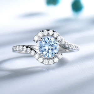 Created Sky Blue Topaz Engagement Ring Silver Ring